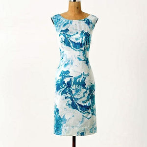 Maeve Marbled Waters Silk Shift Dress